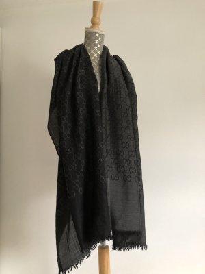 Gucci Bufanda de seda negro Algodón