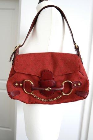 Original Gucci Tasche in rot aus Stoff und Leder