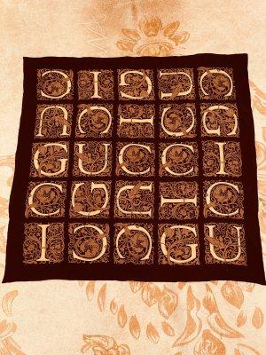 Gucci Panno di seta marrone scuro-color carne