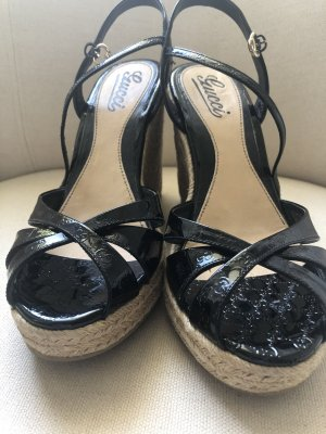 Gucci Wedge Sandals black-cream leather