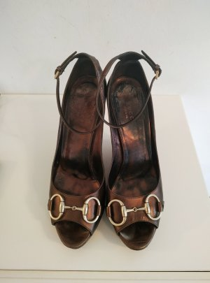 Gucci Wedge Sandals bronze-colored-gold-colored leather