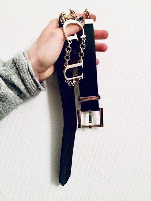 Guess Cinturón pélvico negro-color oro Cuero