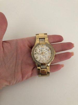 Guess Zegarek z metalowym paskiem złoto