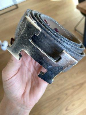 Hermès Lederen riem grijs-zilver