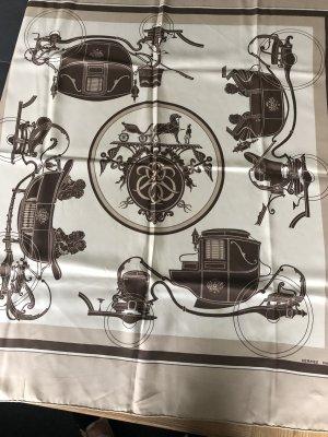 Hermès Panno di seta color cammello-bianco sporco Seta