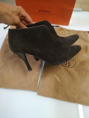Hermès Slip-on Booties dark brown leather