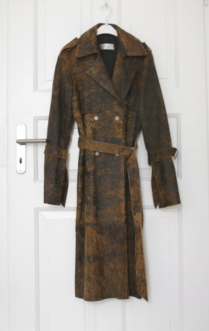 Abrigo de cuero color bronce-marrón oscuro Cuero