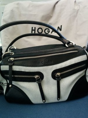 Original HOGAN Bowling Tasche Schultertasche Canvas mit Leder Schwarz Weiß NEU