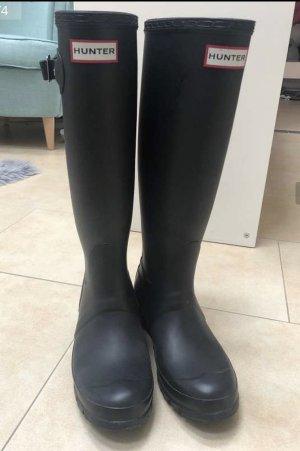 Hunter Gumowe buty czarny Tkanina z mieszanych włókien
