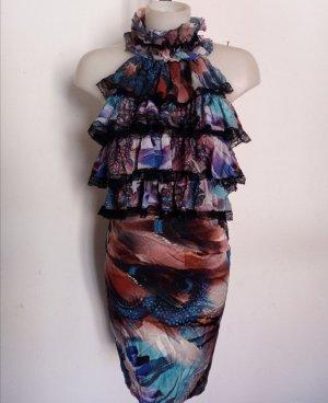 Original Just Cavalli Rüschenkleid Rüschen Kleid Gr 36-38 ital 44 Spitze Roberto Cavalli