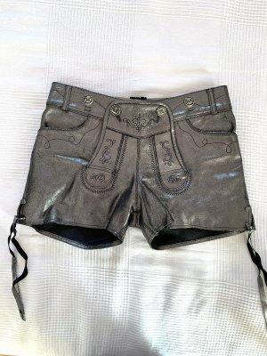 Krüger MADL Pantalone in pelle tradizionale nero-argento