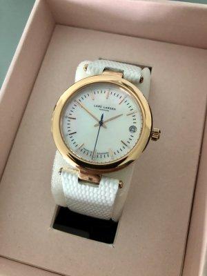 Zegarek ze skórzanym paskiem w kolorze różowego złota-biały