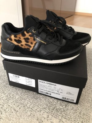 Original Leder Sneaker mit echtem Leoparden Fell von Dolce & Gabbana