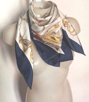 Longchamp Pañuelo de seda blanco-azul acero