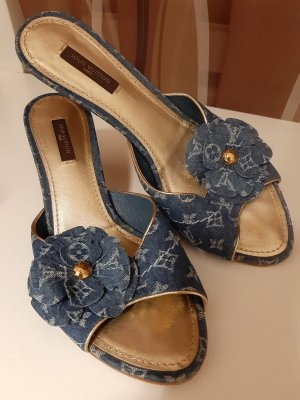 Original Louis Vuitton Damen Mules Sandaletten Monogram Denim