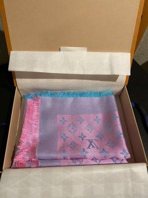 Louis Vuitton Zijden sjaal neonroos-lichtblauw