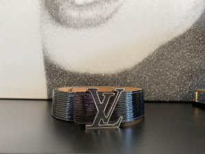 Louis Vuitton Leather Belt black-silver-colored leather