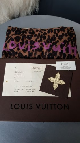 Original Louis Vuitton Kaschmir Tuch Schal Stola Stephen Sprouse Edition Etole Leopard Marron & RECHNUNG