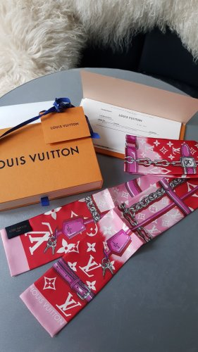 Original Louis Vuitton Seidentuch Bandeau Escale rot 100% reine Seide Full-Set
