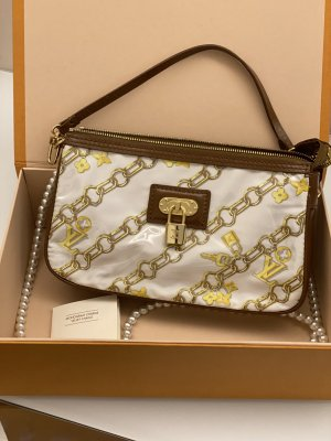 Original Louis Vuitton Tasche Pochette Velvet Chains weiß Vintage