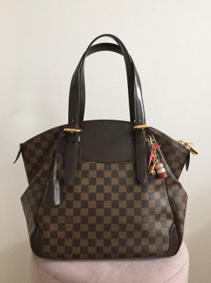 Louis Vuitton Shopper brun foncé-blanc cassé cuir