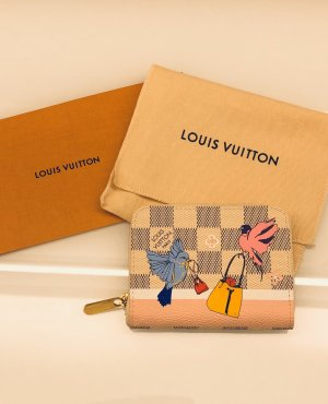 ORIGINAL Louis Vuitton Zippy Geldbörse Damier Azur limitiert Christmas Vögel