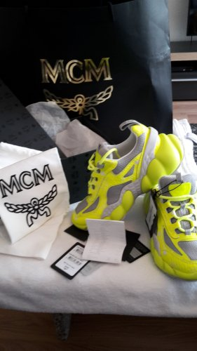 MCM Lace-Up Sneaker meadow green-silver-colored leather