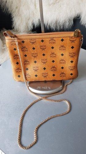 Original MCM Pochette Tasche / grosse Clutch in der Farbe cognac & Schulterkette