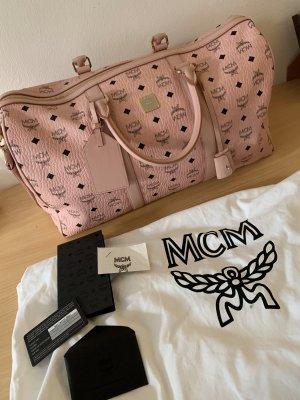 MCM Sac weekender rose clair-noir