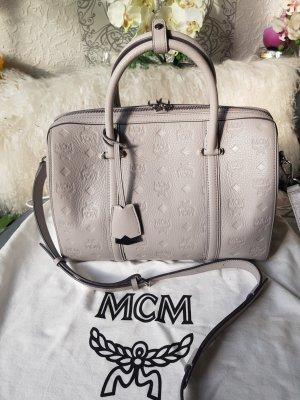 Original MCM Tasche Boston Bag & Rechnung hellgrau silber TOPZUSTAND