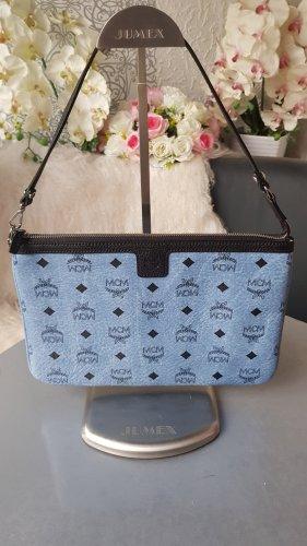 Original MCM Tasche / grosse Clutch blau schwarz silber von Shopper Reversible