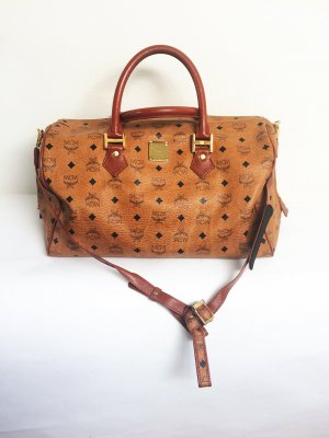 Original MCM Visetos Boston Bag in cognac, large