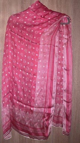 MCM Écharpe en soie blanc-magenta soie