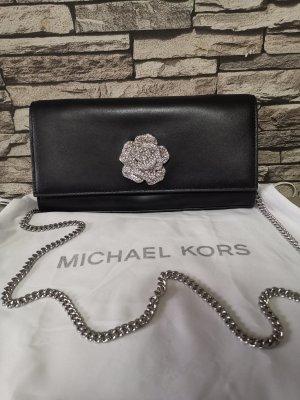 Original Michael Kors BELLAMIE Schulter Clutch Tasche schwarz Leder Kette Handtasche