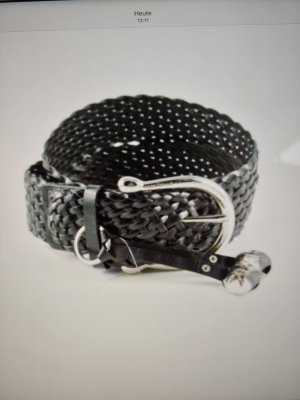 Michael Kors Braided Belt black-silver-colored leather