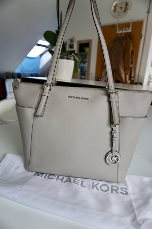 Original Michael Kors Jet Set Large in Pearl Grau 30f4sttt9l