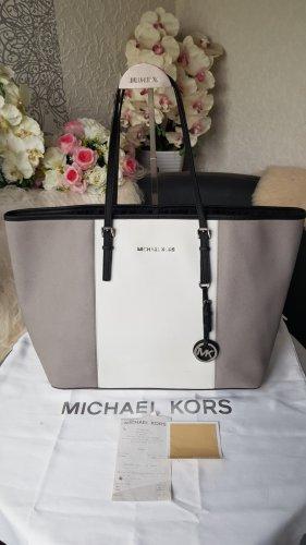 Original Michael Kors Shopper Tasche Jet Set Travel grau weiss schwarz Topzustand & Rechnung