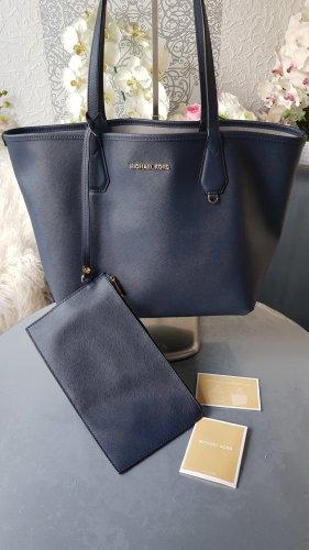 Original Michael Kors Tasche Shopper Reversible & Pochette dunkelblau wie neu