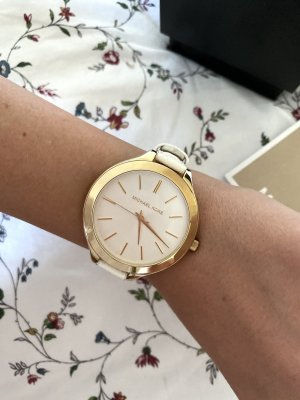 Michael Kors Watch With Leather Strap white-gold-colored