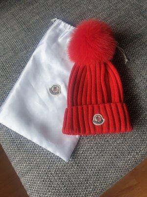 Moncler Sombrero de punto rojo