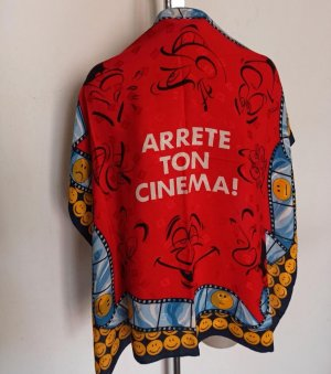 Original Moschino Tuch Seidentuch Arrete Ton Cinema Smiley Scarf rot