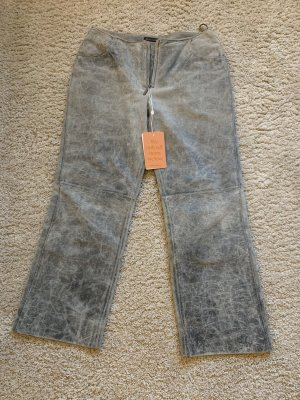 Mulberry Pantalón de cuero gris claro-gris