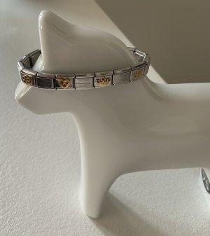original NOMINATION Armband mit Blume Herz Krone rote Zirkonia Engel Gold sehr guter Zustand