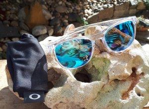 Oakley Gafas de sol cuadradas azul neón-blanco Acrílico