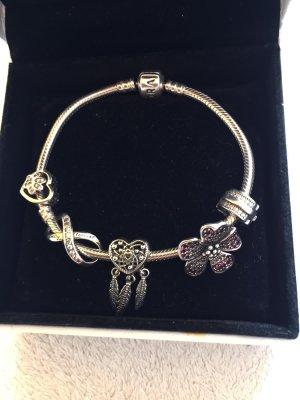 Original Pandora ❤️ 1 mal getragen Armband 925 Silber 19cm lang mit 5 verschiedenen 925 Silber Charms