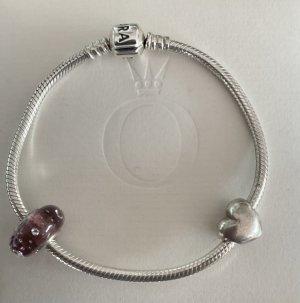 original Pandora Armband 925 Silber 19cm mit Bead Herz + Murano rosa sehr guter Zustand