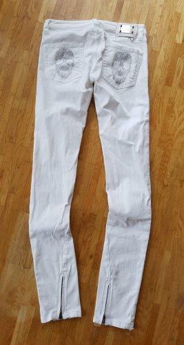 Philipp Plein Vaquero skinny blanco-color plata