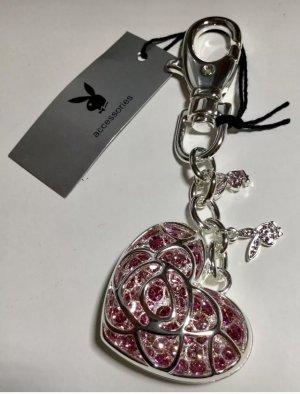 Playboy Porte-clés argenté-rose