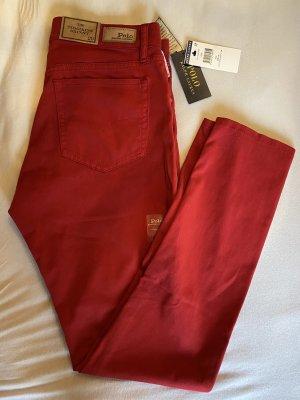 Original Polo Ralph Lauren Tompkins Skinny Jeans Rot 29 Sommer Luxus