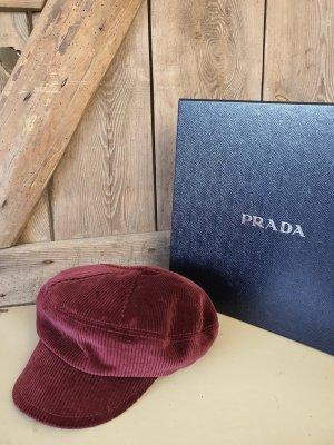 Prada Cappello da panettiere bordeaux Velluto a coste